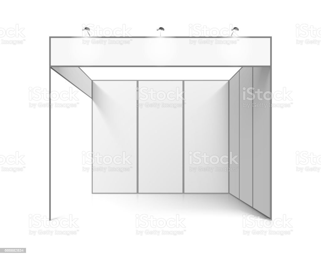 Blank white trade exhibition stand vector art illustration