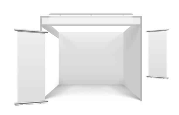 Blank white trade stand vector art illustration