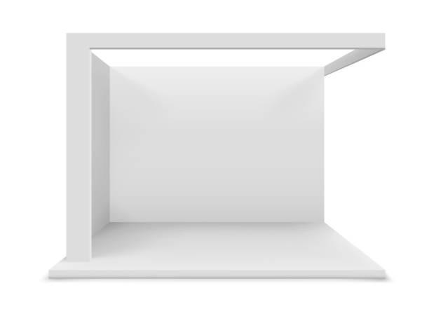 illustrazioni stock, clip art, cartoni animati e icone di tendenza di stand commerciale bianco bianco - stand