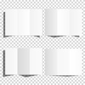 Blank white trifold paper brochure mockup set, isolated.