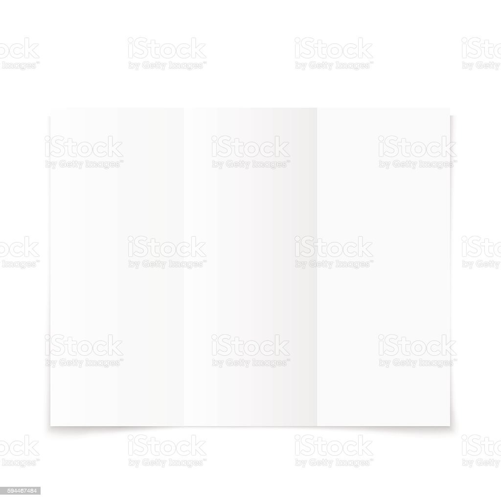 blank white trifold paper brochure with shadow イラストレーション
