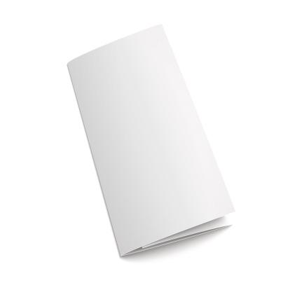 Blank white tri-folded paper brochure on white background