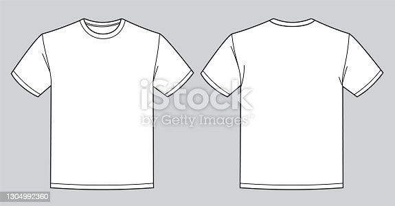 istock Blank white t-shirt template. Front and back view 1304992360