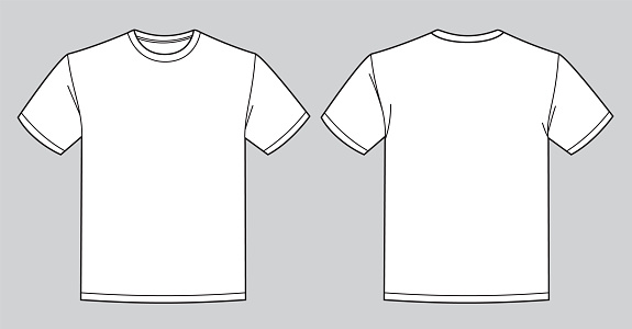 Blank white t-shirt template. Front and back view