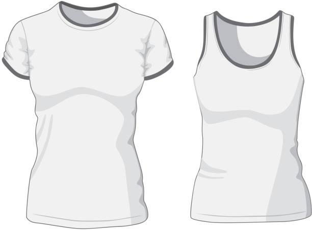 leeren t-shirt für frauen und sporthemd. - bodysuit stock-grafiken, -clipart, -cartoons und -symbole