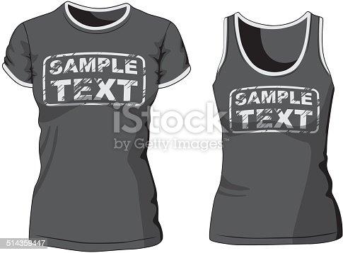 Blank Women's t-shirt and singlet. Vector illustration.