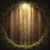 Blank wooden wall with Christmas wreath.