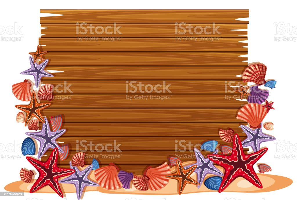 Blank wooden board with starfish and shells vector art illustration