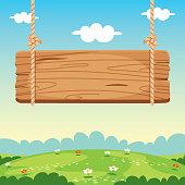 istock Blank Wooden Sign Board Illustration 1252940543