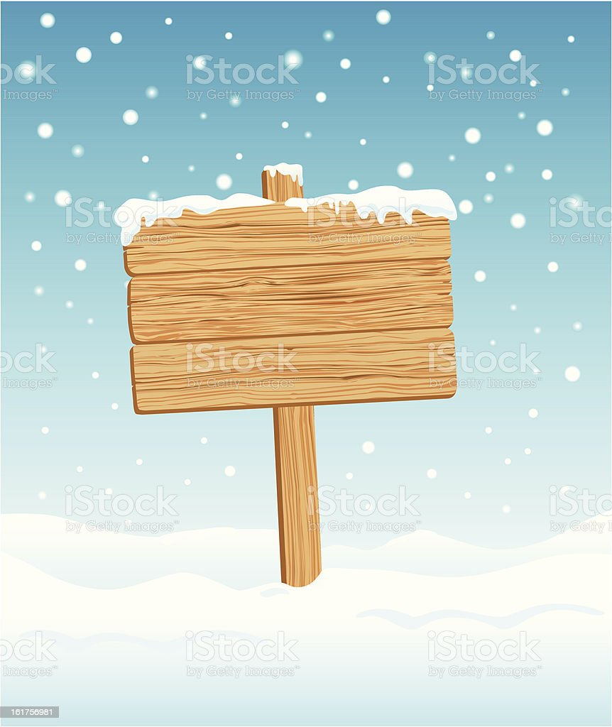 Blank Wooden Sign in Winte vector art illustration