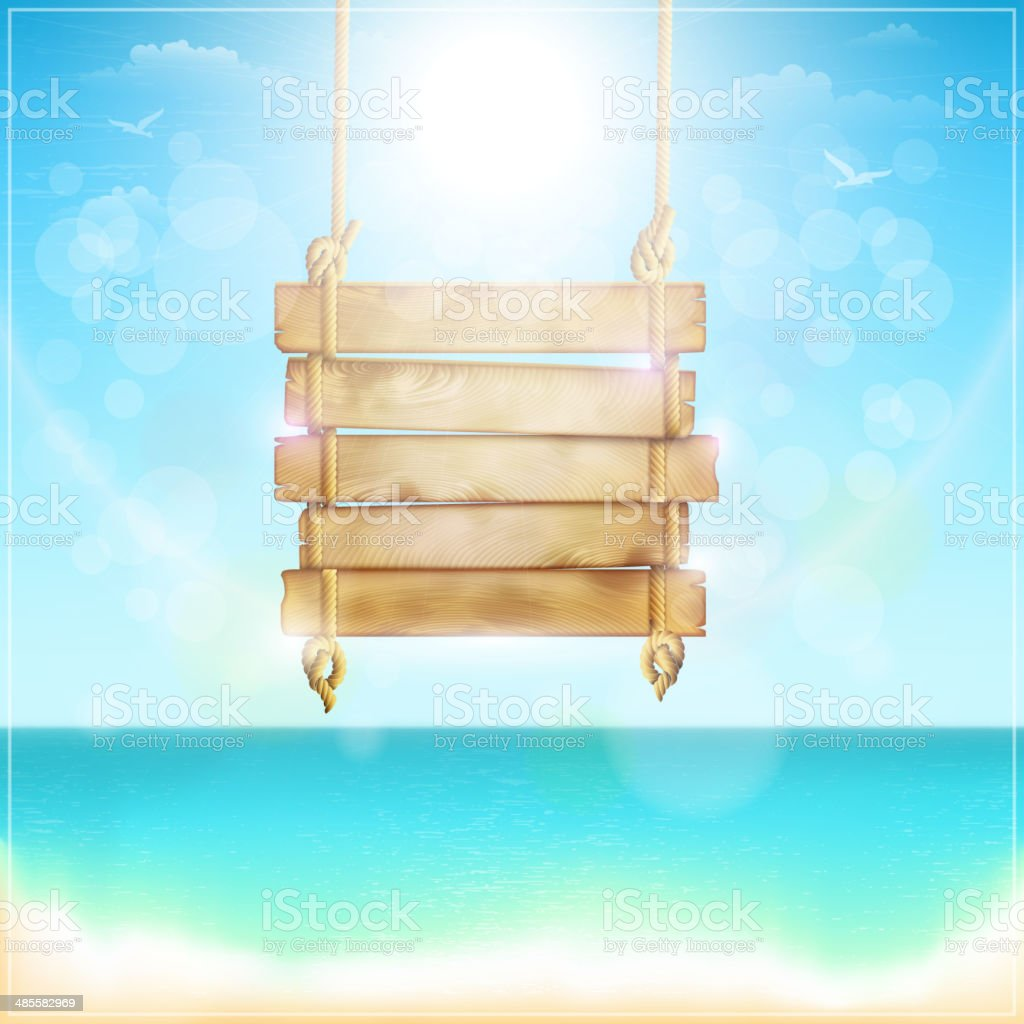 Leere hölzernen Schild am Strand. Lizenzfreies leere hölzernen schild am strand stock vektor art und mehr bilder von alt