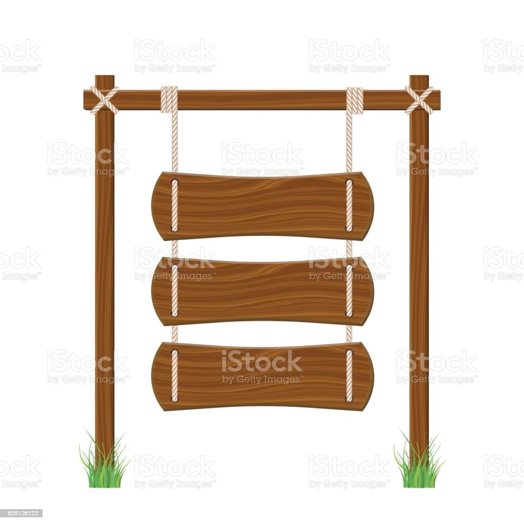 Blank Wooden Signboard Hanging On Rope Isolated On White ...