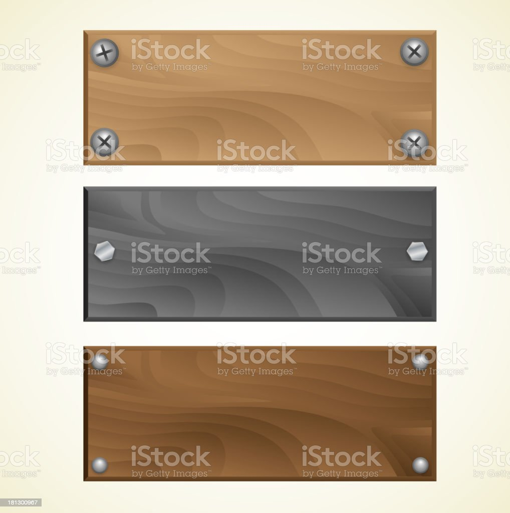 Blank wooden signs royalty-free stock vector art