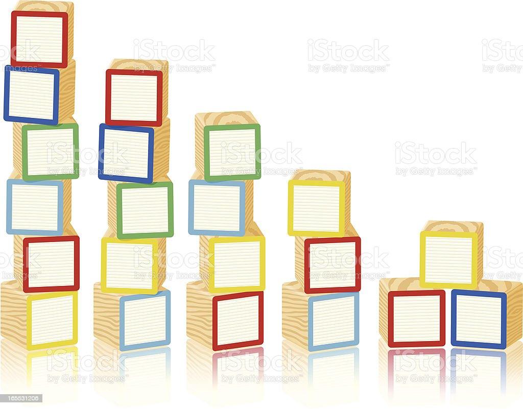 Blank Wooden Toy Alphabet Blocks vector art illustration