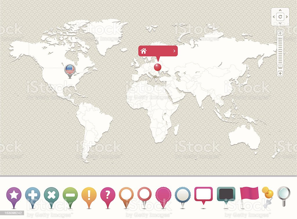 Blank world map with template for location pins vector art illustration
