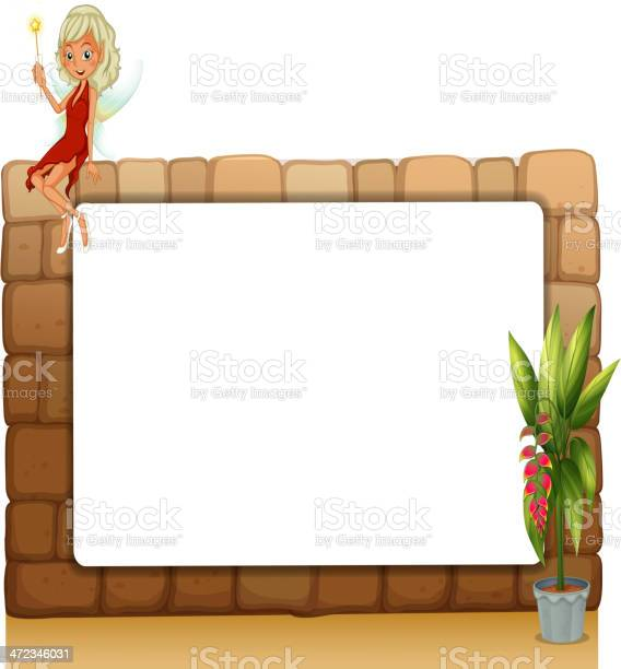 blankboard on a wall with a fairy and a pot of plants on a white background