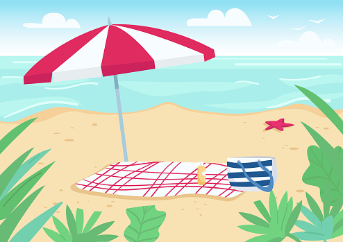 Blanket and sun umbrella on sand beach flat color vector illustration. Towel, bag and sunscreen bottle items for sunbathing. Summer vacation. Seacoast 2D cartoon landscape with water on background