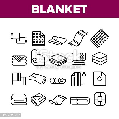 Blanket And Towel Collection Icons Set Vector. Electronic Blanket With Heating, Fabric Bathroom Accessory, Twisted Plaid Concept Linear Pictograms. Monochrome Contour Illustrations