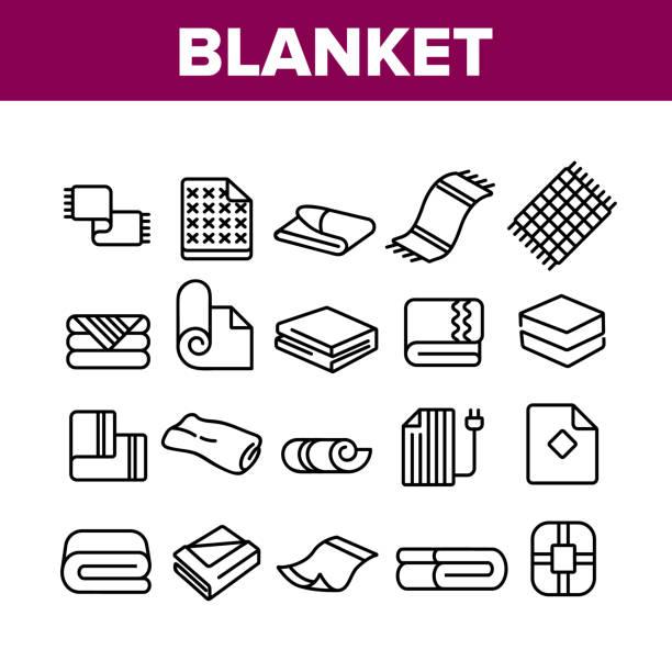 illustrazioni stock, clip art, cartoni animati e icone di tendenza di le icone della collezione di coperte e asciugamani impostano vector - calore concetto