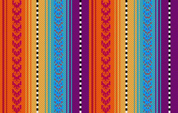Blanket stripes seamless vector pattern. Serape design Blanket stripes seamless vector pattern. Background for Cinco de Mayo party decor or ethnic mexican fabric pattern with colorful stripes. Serape design serape stock illustrations