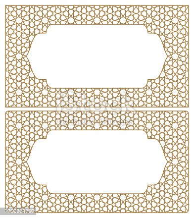 istock Blanks for business cards. Arabic geometric ornament.Proportion 90x50. 1200331792
