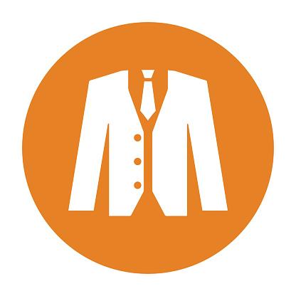 Blazer, clothes, suit icon. Orange color