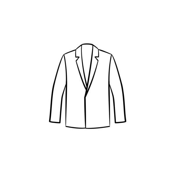 stockillustraties, clipart, cartoons en iconen met blazer hand getrokken schets pictogram - men blazer