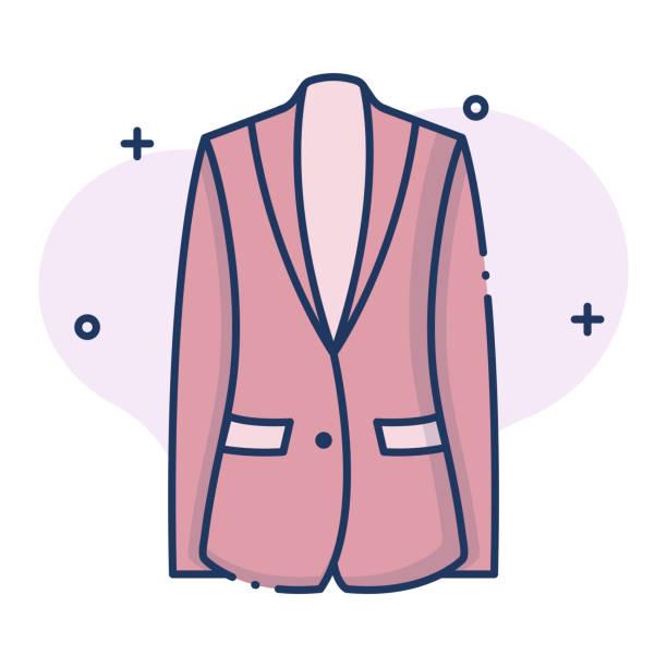 stockillustraties, clipart, cartoons en iconen met blazer linecolor illustratie - men blazer