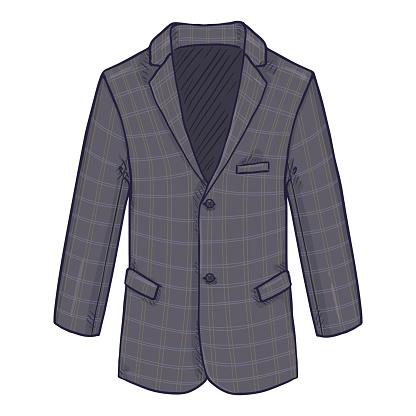 Checkered Gray Blazer. Suit Jacket Vector Cartoon Illustration.