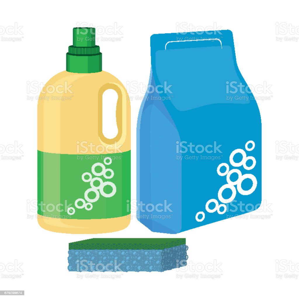 Bleach bottle with sponge, package of washing powder, detergent vector royalty-free bleach bottle with sponge package of washing powder detergent vector stock vector art & more images of antiseptic