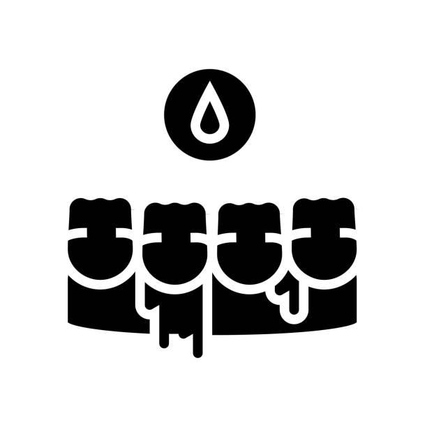 bleeding gums glyph icon vector illustration bleeding gums glyph icon vector. bleeding gums sign. isolated contour symbol black illustration streptococcus mutans stock illustrations