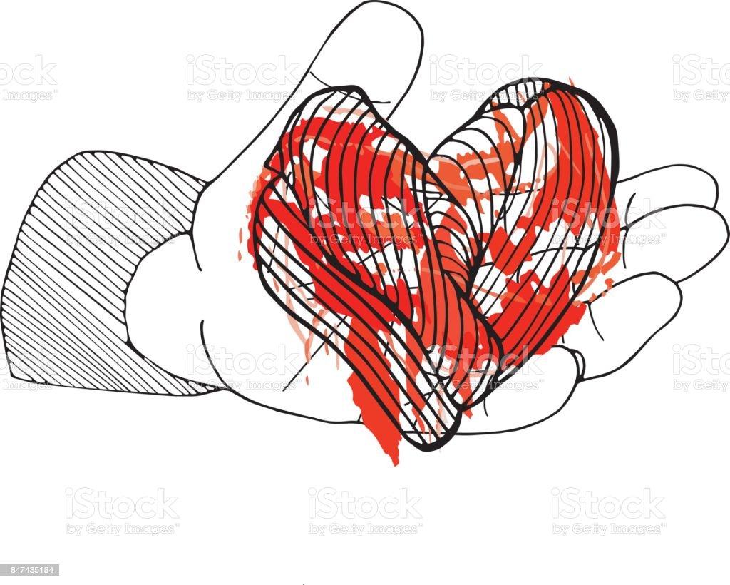 Bleeding heart in hand halloween hand drawn card on white stock bleeding heart in hand halloween hand drawn card on white royalty free bleeding heart buycottarizona