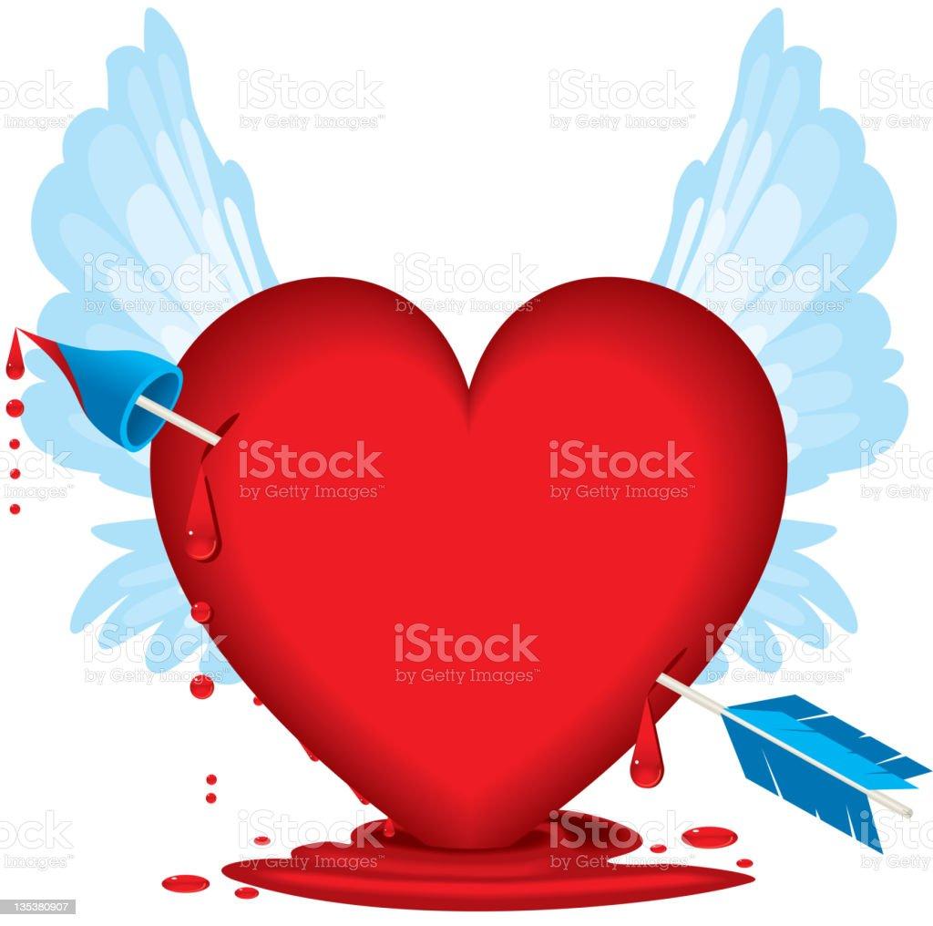 Bleeding heart with arrow blood drops and wings stock vector art bleeding heart with arrow blood drops and wings royalty free bleeding heart with arrow buycottarizona