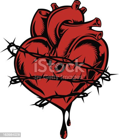 istock Bleeding heart wrapped with barbed wire 163984028
