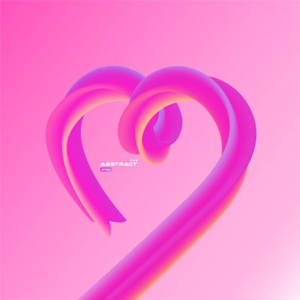 Blend shapes color gradient heart, happy Vallentines day background vector art illustration