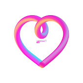 Valentines day pink card, liquid heart - eps10