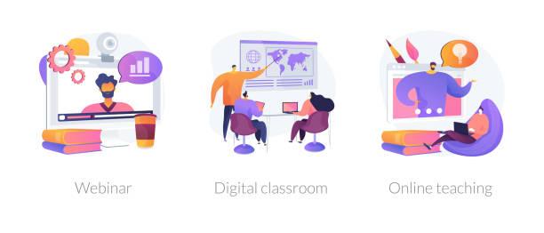 illustrazioni stock, clip art, cartoni animati e icone di tendenza di blended learning vector concept metaphors. - infografiche