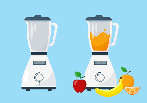 Blender and working blender with fruit.