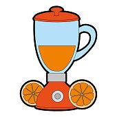 blender electric with oranges vector illustration design