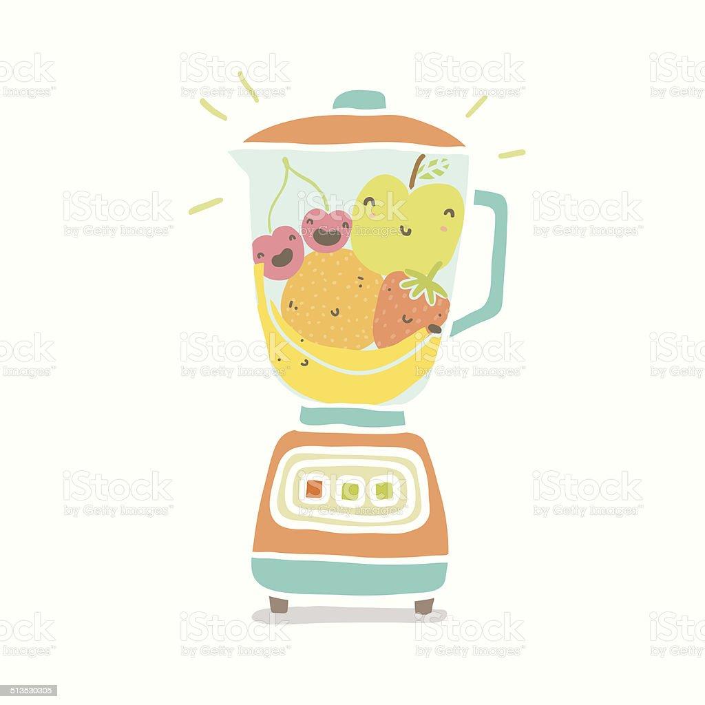 Blender full of smiling fruits vector art illustration