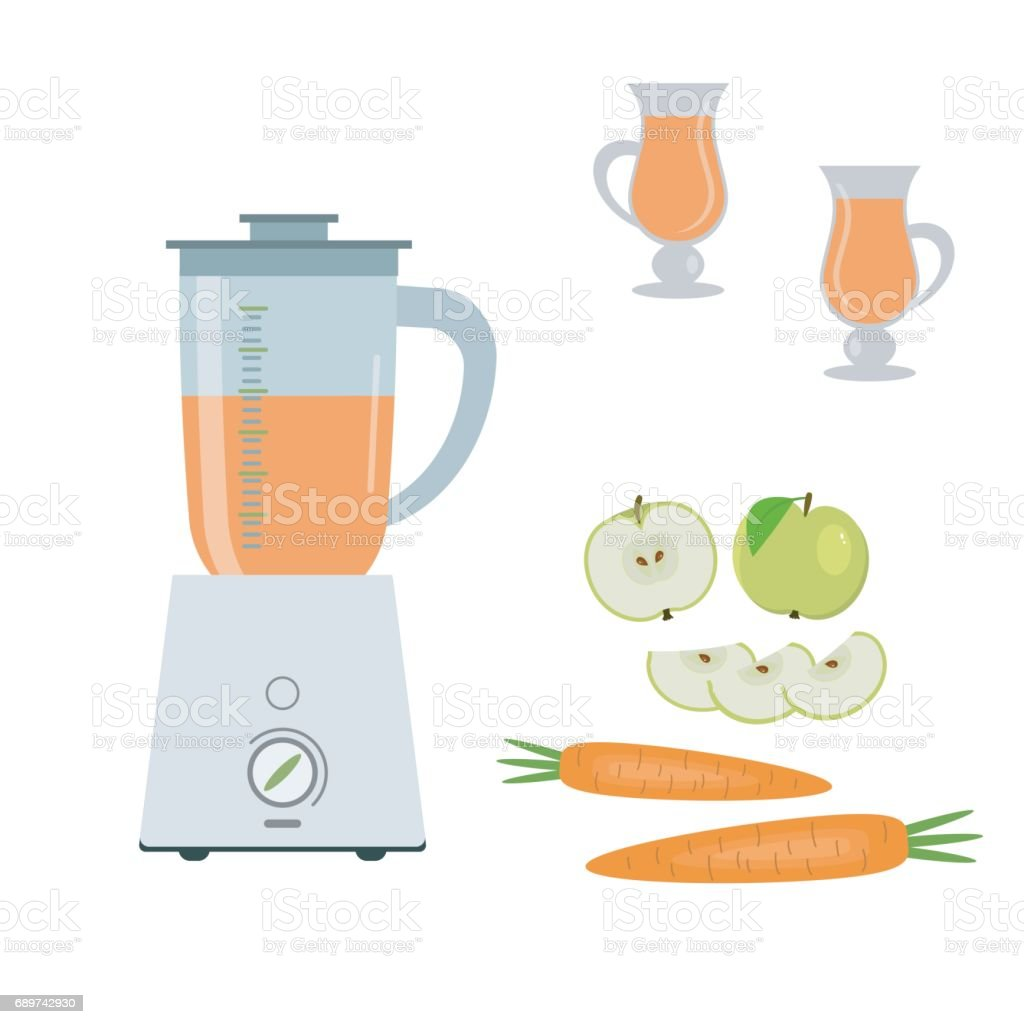 Blender, green apples and carrots, isolated on a white background vector art illustration
