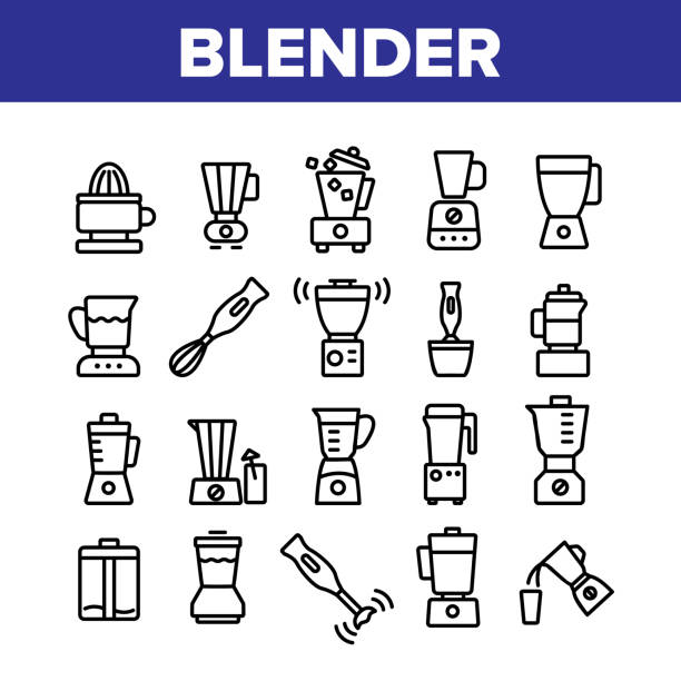 Blender Kitchen Tool Collection Icons Set Vector Blender Kitchen Tool Collection Icons Set Vector. Blender Electronic Equipment Appliance For Make Cold Cocktail Or Mixing Product Concept Linear Pictograms. Monochrome Contour Illustrations digital composite stock illustrations