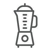 Blender line icon, kitchen and cooking, mixer sign vector graphics, a linear pattern on a white background, eps 10.