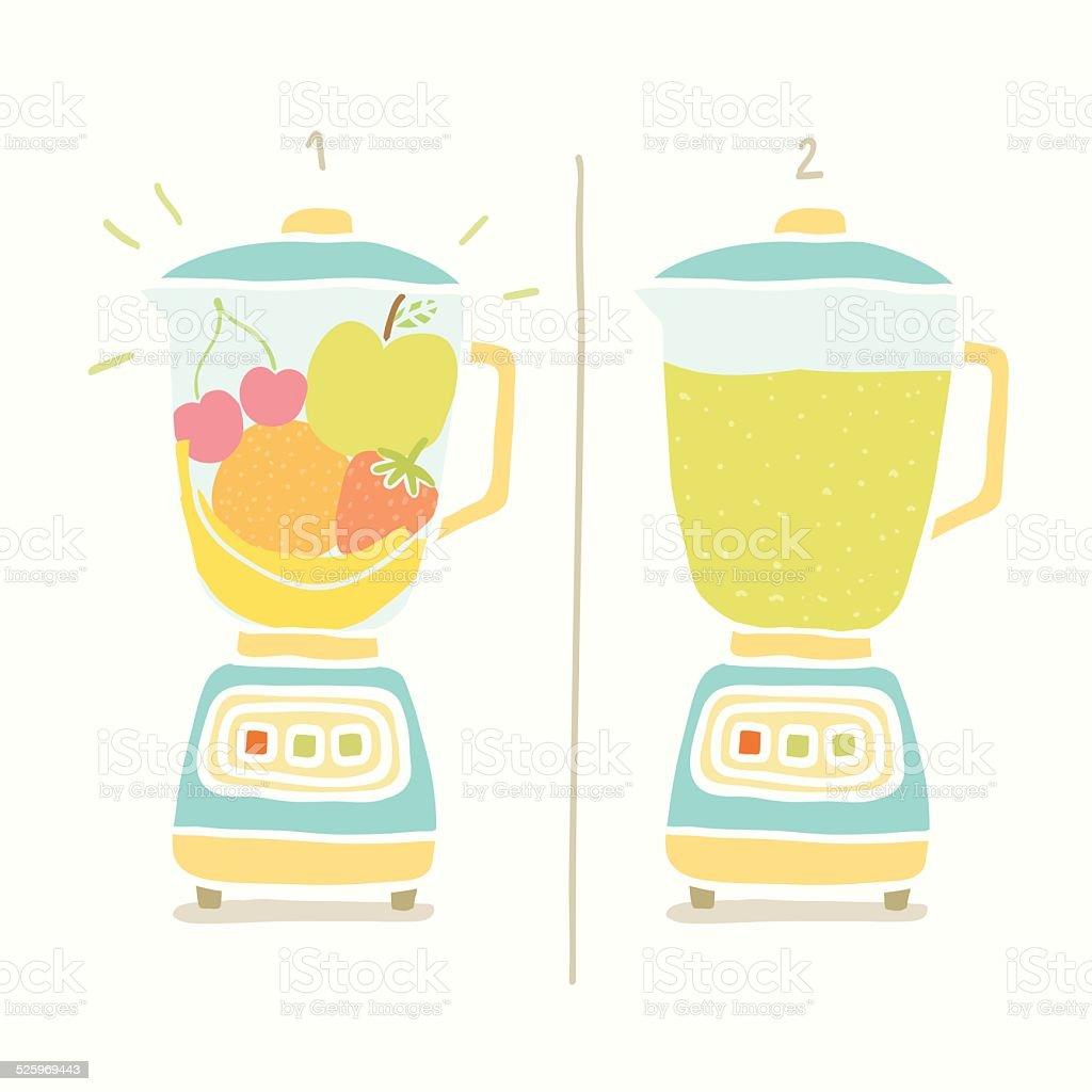 Blender making fruit smoothie. vector art illustration