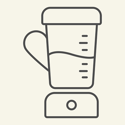 Blender thin line icon. Juicer Mixer symbol, outline style pictogram on beige background. Kitchen electric appliances sign for mobile concept and web design. Vector graphics.
