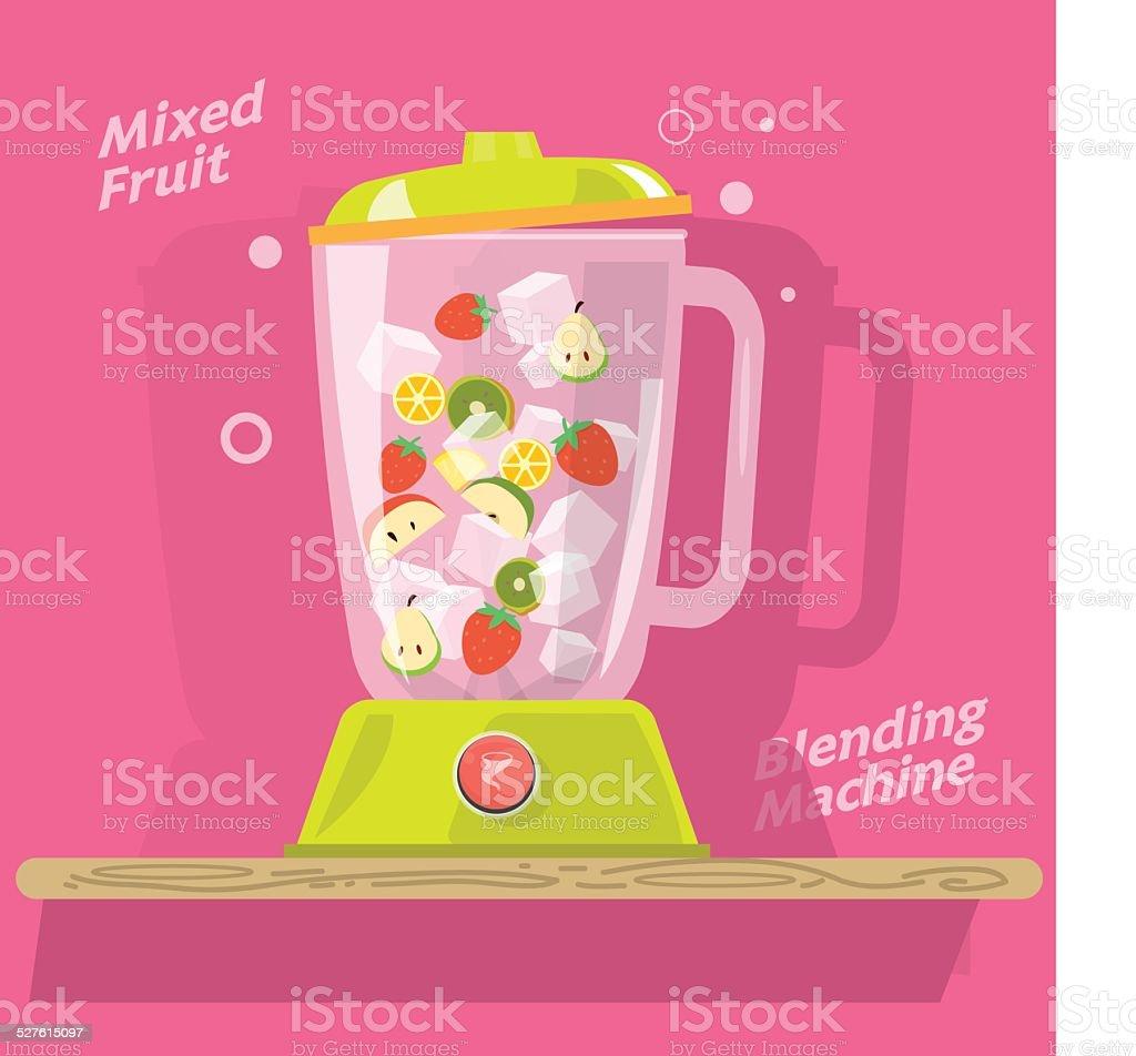 blending machine with mix of fruits- vector illustration vector art illustration