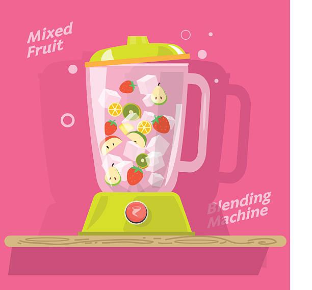 maschine mit mischung aus fruits- vektor-illustration - küchenmixer stock-grafiken, -clipart, -cartoons und -symbole