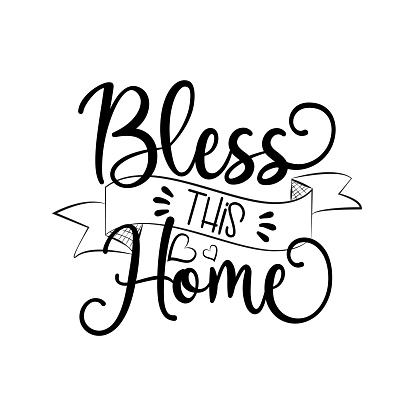 Bless this Home calligraphy  Good for home decor, poster, banner, textile print.