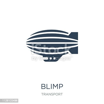 blimp icon vector on white background, blimp trendy filled icons from Transport collection, blimp vector illustration