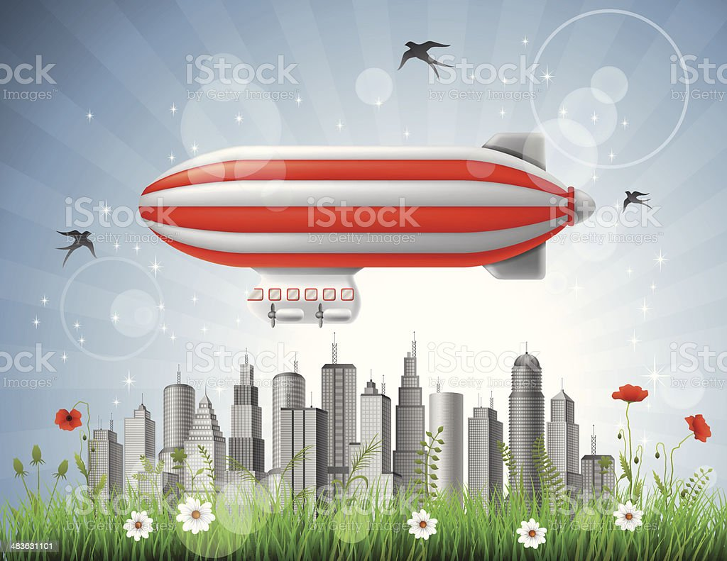 Blimp over the City royalty-free stock vector art